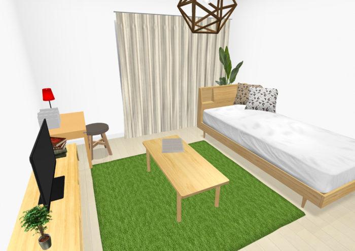 8畳の部屋のレイアウト例3D