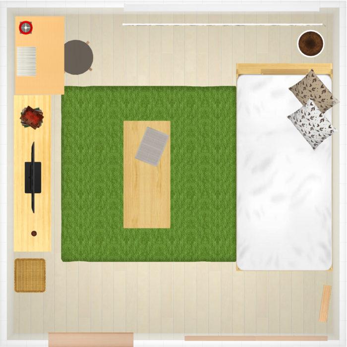 8畳の部屋のレイアウト例